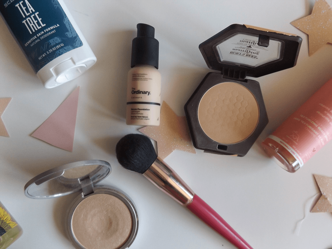 Burts Bees foundation powder, The Balm Mary Lou Manizer, The ordinary foundation