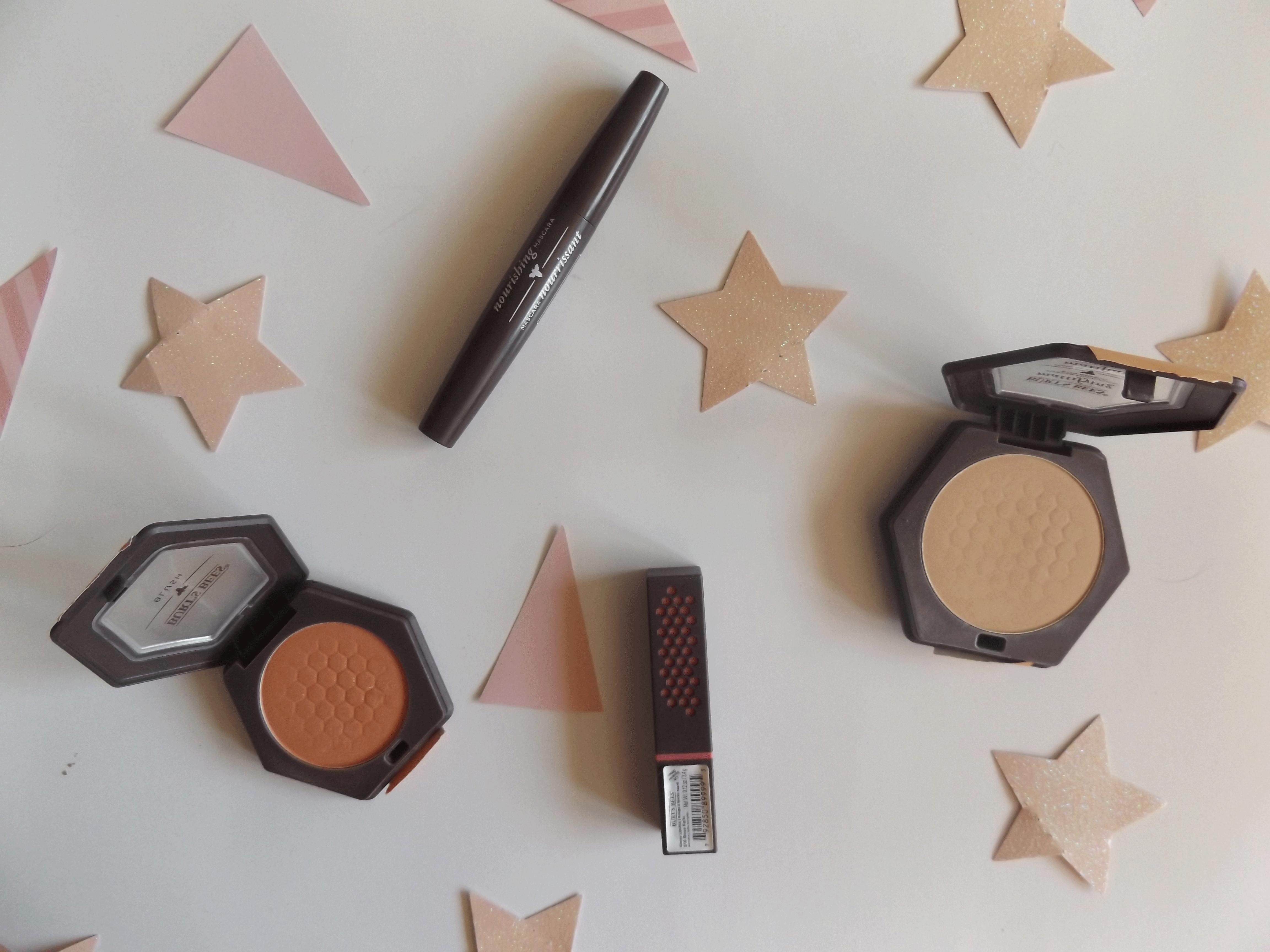 Mascara, blush, foundation powder, lipstick