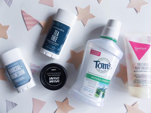 Schmidt's Deodorant, Tom's, SweetSpot cleanser, Lush Dream cream