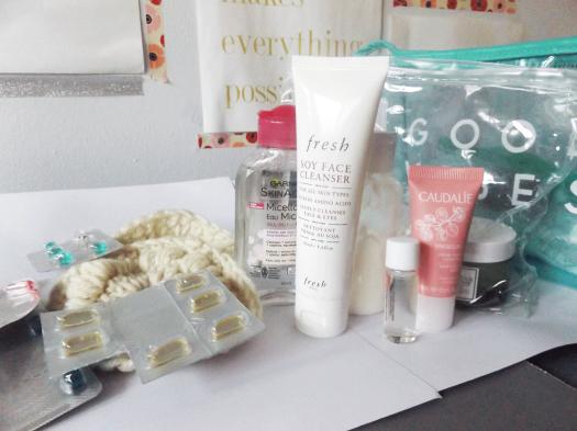 Fresh Soy Face Cleanser, Garnier Micellar water, Mini Caudalie Brightening essence, Caudalie Vinosource moisturizer