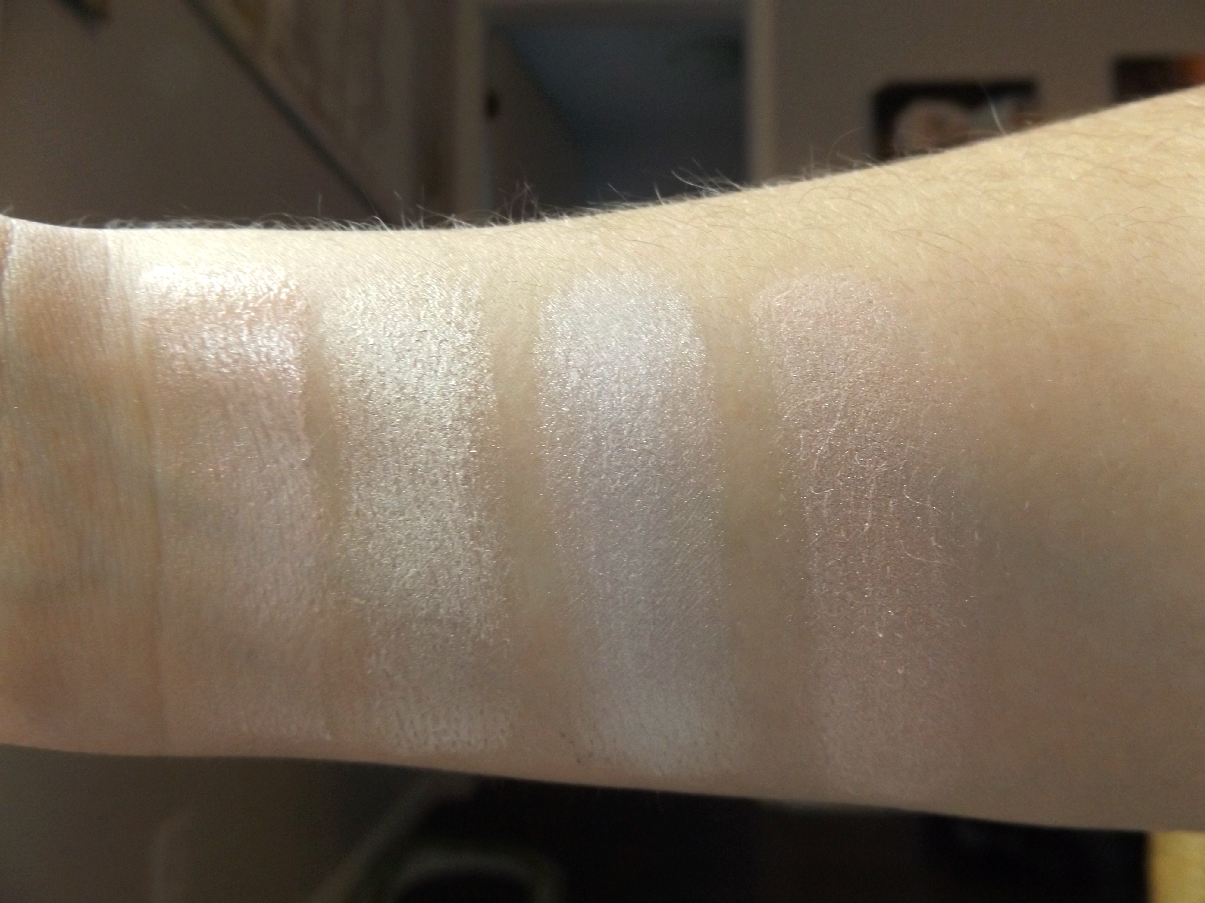 cool toned highlighter swatches