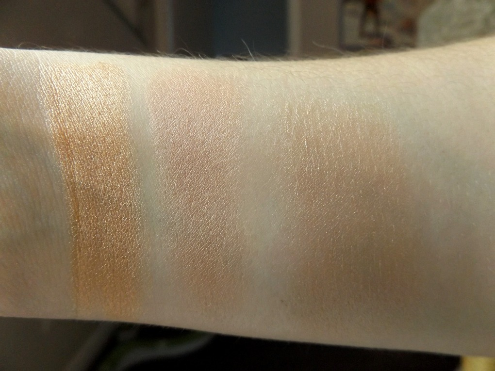 Warm toned highlighter swatches