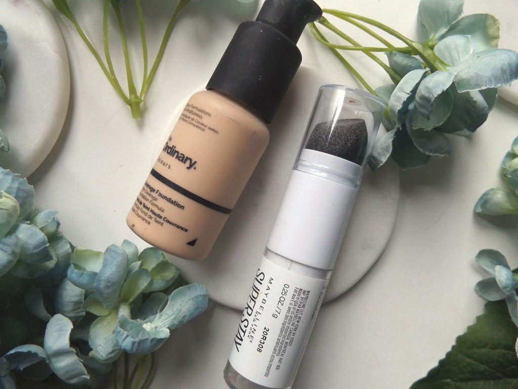 Left to right: the ordinary coverage foundation, Maybelline stick foundation.