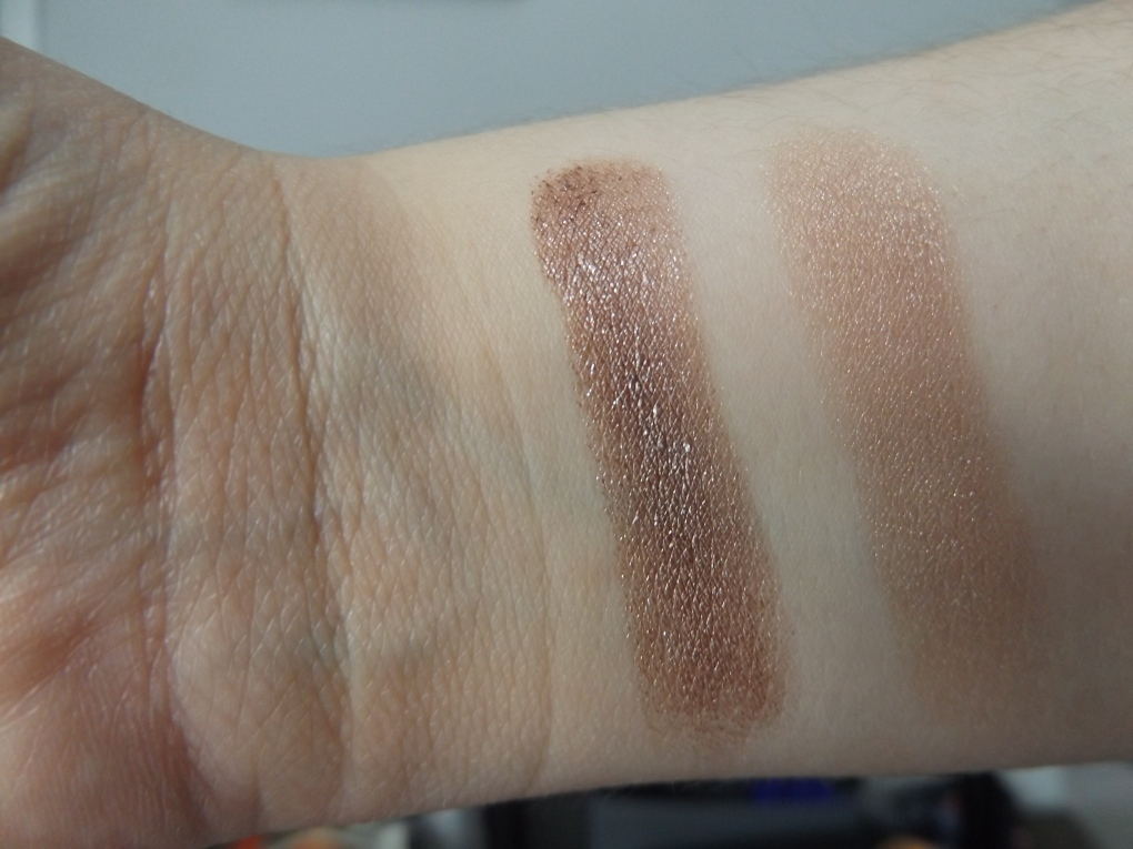 Annabelle Chrome eyeshadow in rose gold and Annabelle bouncy eyeshadow in booty shake swatches
