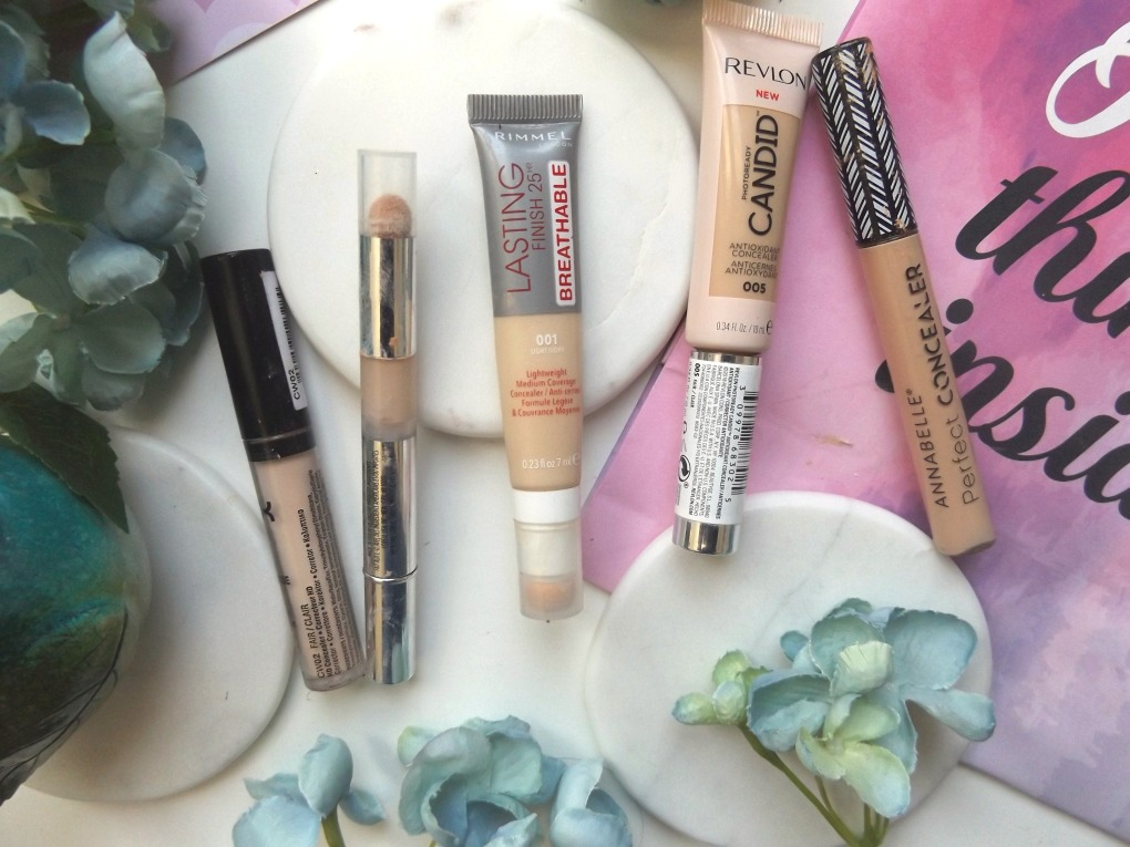 Left to right: NYX HD, L'Oreal True Match, Rimmel Lasting Breathable, Revlon Candid Concealer, Annabelle Concealer