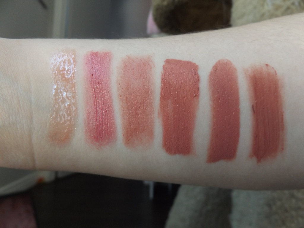 Swatches of the lipsticks: Left to right Left to right: Fenty Gloss, Burt's Bee Peony Dew, Pixi Natural Rose, Burt's Bees Suede Splash, Cheekbone beauty Melina, Covergirl Sulty Sienna