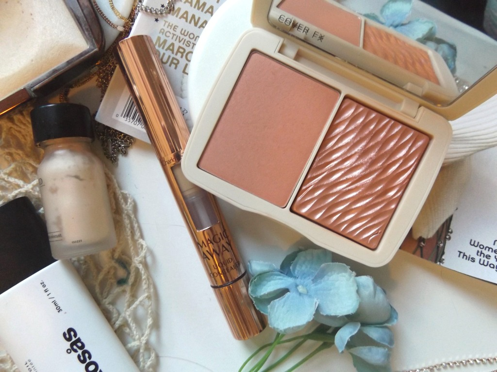 Perricone MD No Highlighter Highlight, Charlotte Tilbury Magic Away Concealer , CoverFx peach duo