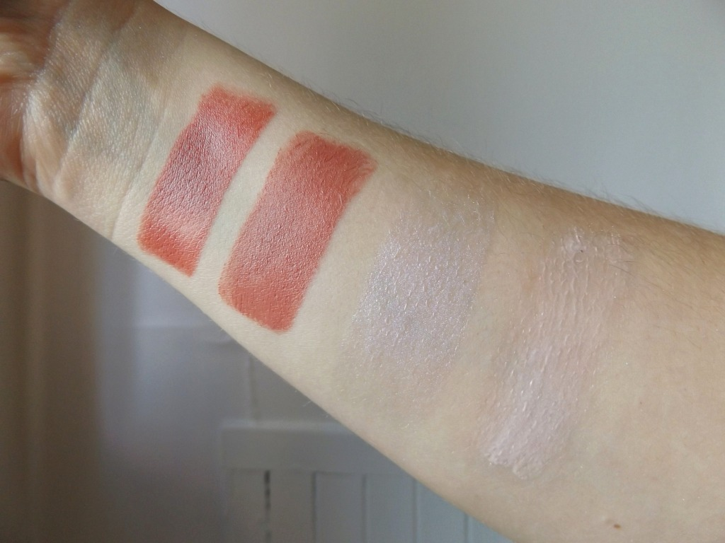 swatches of the face products: sunset strip, body language, half moon, illuminaughty,