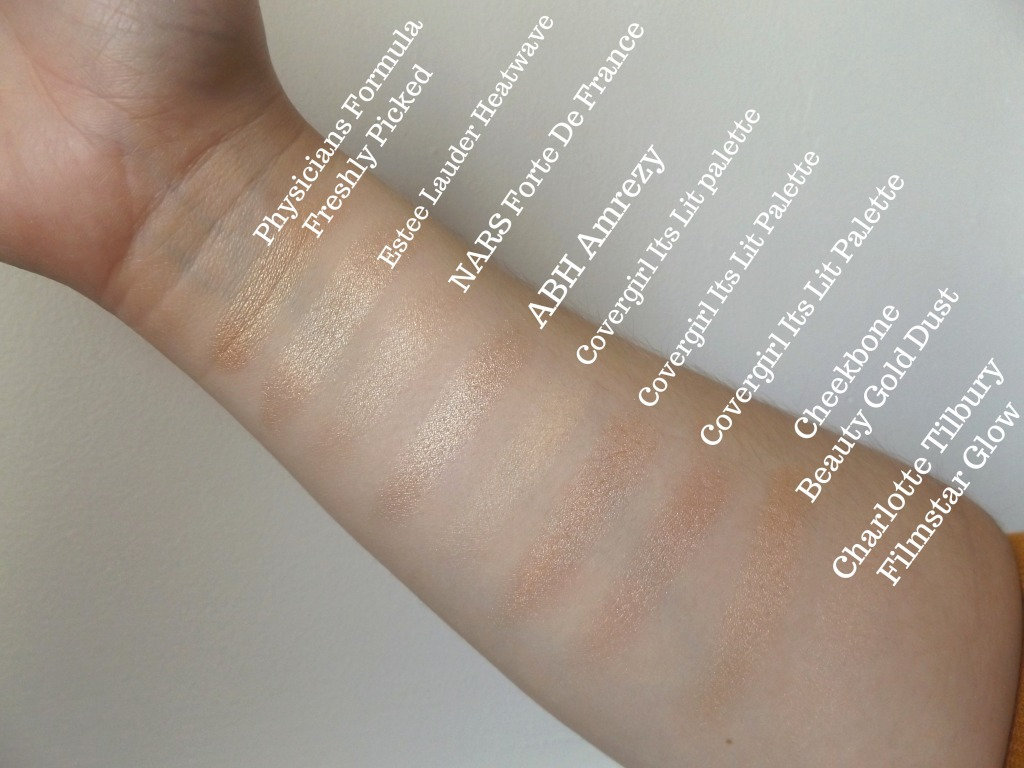 swatches of all highlighters