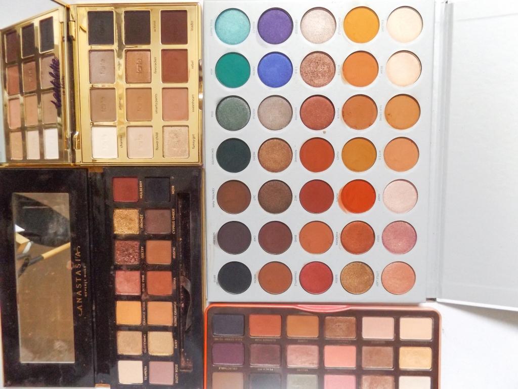 Clockwise: Jaclyn Hill Palette, Too Faced Sweet Peach, ABH Soft Glam, Tarte Tartlette in bloom