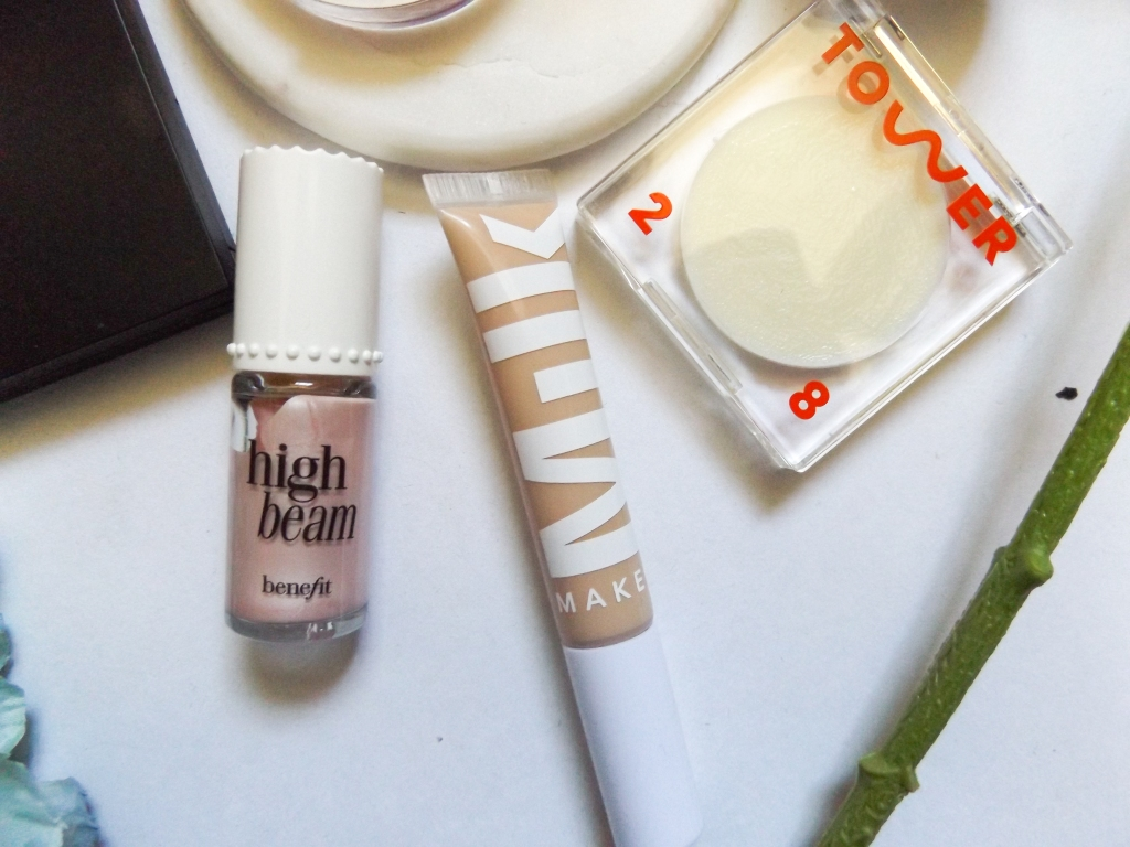 Benefit High Beam, Milk Flex Concealer, Tower 28 Super Dew Balm